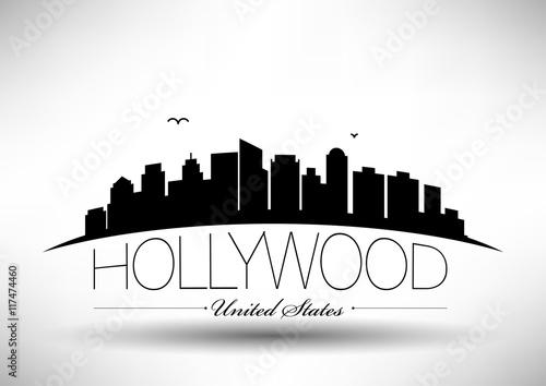 Poster  Vektor Hollywood City Skyline Design