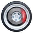 Car wheel with red caliper break spinning
