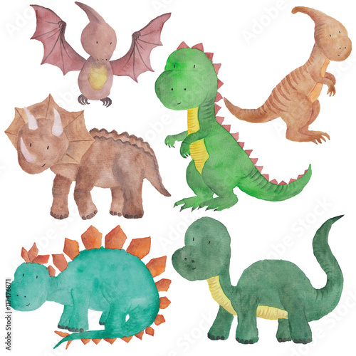 Photo  dinosaurs Watercolor illustration Isolated Dino Kids Hand-painted