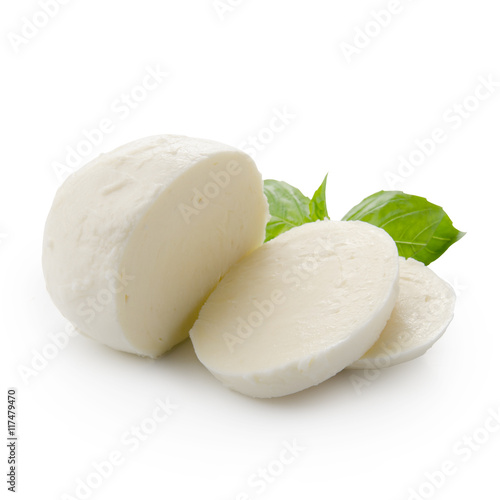 Fotografía Piece of white mozzarella isolated on white background with clipping path