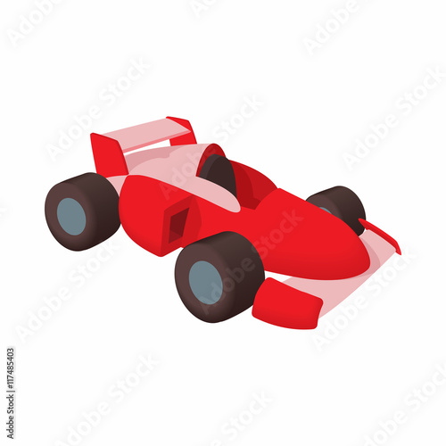 Foto op Canvas Cars Race car icon in cartoon style isolated on white background. Machine symbol