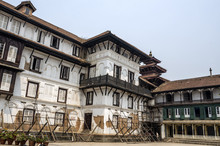Basantapur Durbar After Major Earthquake In 2015 And Reconstruction Is On Going, Kathmandu Durbar Square, Nepal.