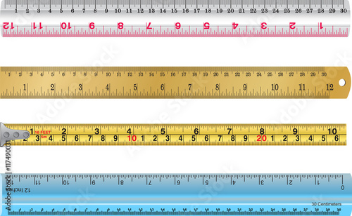 Colorful Rulers Millimeters Centimeters And Inches Ruler Flat
