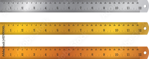 Fotografía  colorful rulers, millimeters, centimeters and inches, Ruler flat icon vector illustration, ruler icon
