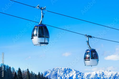 Spoed Foto op Canvas Gondolas Calbe car in mountain ski resort Nassfeld, Austria.