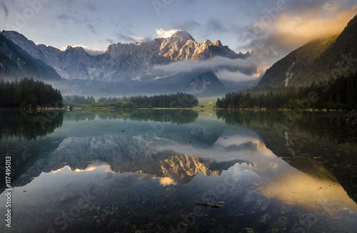 Aluminium Prints Dark grey mountain lake in the Italian Alps,retro colors, vintage
