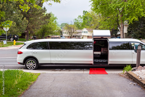 White limousine with inviting open door Tableau sur Toile