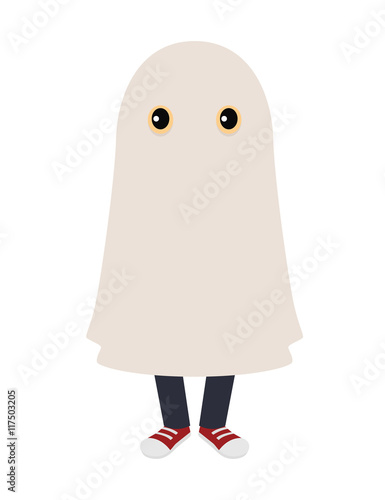 Photo  Kid in a ghost costume