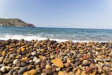 Patmos Island, Lampi Beach, Famous For The Colorfull Pebbles, Greece