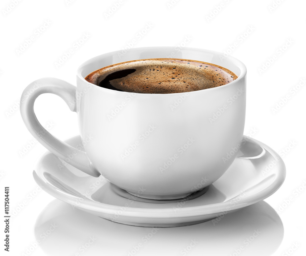 white cup of coffee isolated on the white background