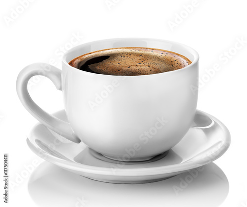 Foto auf AluDibond Kaffee white cup of coffee isolated on the white background