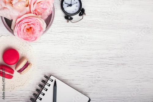 Aluminium Prints Macarons Pink roses, notepad, clock and macarons