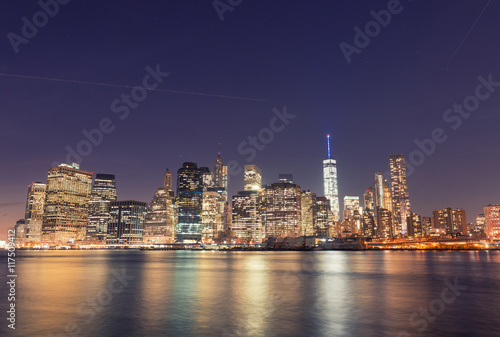 Fototapety, obrazy: Downtown Manhattan and water reflections at sunset, new York Cit