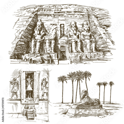 Fotografija  Egyptian monuments. Abu Simbel Temple of Rameses II. Hand drawn
