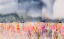 Beautiful Landscape Of Colorful Flower Field, Watercolor Painting