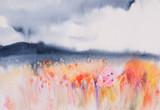 Kolorowe pola wielu kwiatów, abstrakcyjne malarstwo akwarela - 117517852