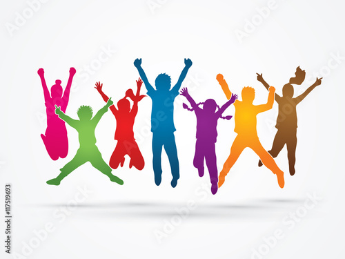 Group of children jumping , Front view designed using rainbows colors graphic vector. - 117519693