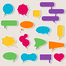 Set Of Colorful Speech Bubbles With Shadows