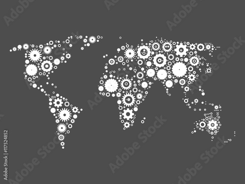 World map mosaic of white cog wheels on grey background industrial world map mosaic of white cog wheels on grey background industrial theme vector illustration gumiabroncs Image collections