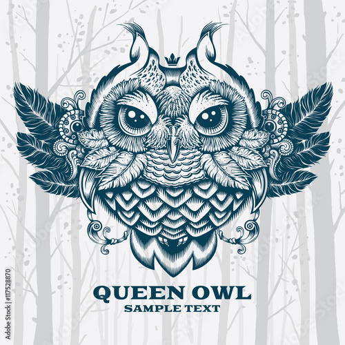 Poster Uilen cartoon Illustration Owl. Decorative graphics on White background