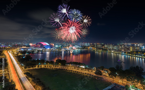 Tuinposter Stadion Singapore National Stadium with firework show in Singapore Natio