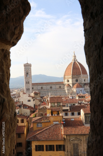 Photo Stands Florence Window view to Santa Maria del Fiore and Giotto's Campanile from Palazzo Vecchio, Florence Italy