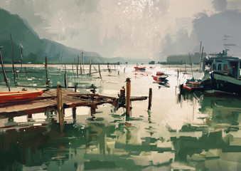 Fototapetadigital painting showing jetty and fishing boats at harbor