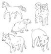 Set of animals: bull, dog, horse, rat and pig