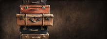 Shabby Vintage Ancient Suitcases Tower Travel
