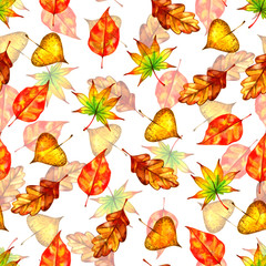 Orange watercolor painted autumn leaves seamless pattern
