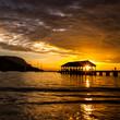 Jetty at sunset, Hanalei Bay, Kauai, Hawaii, United States of America