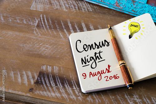 Photo  Census Night 9 August 2016, Australia written on notebook page