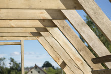 Ough Construction Of The Roof Structure Of The House Of Wood