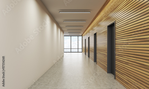 Canvas Office lobby with white and wooden wall