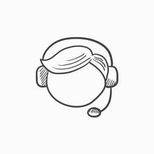 Customer Service Sketch Icon.