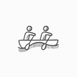 Tourists sitting in boat sketch icon.