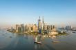 Shanghai skyline panoramic view along Huangpu river in Shanghai.