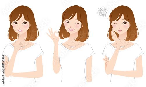 若い女性 表情ポーズ セット