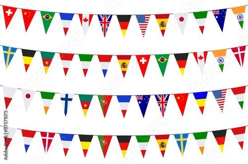 Banners. Garlands. Europe. International Fototapeta