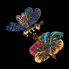 Fototapeta Colorful line art of flying butterfly with Chinese rose flower