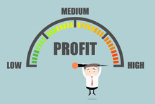 Businessman Profit Meter