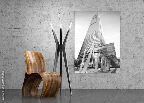 Valokuva  Designermöbel, Designerstuhl mit Stehlampe aus Stahl, Stuhl, Se
