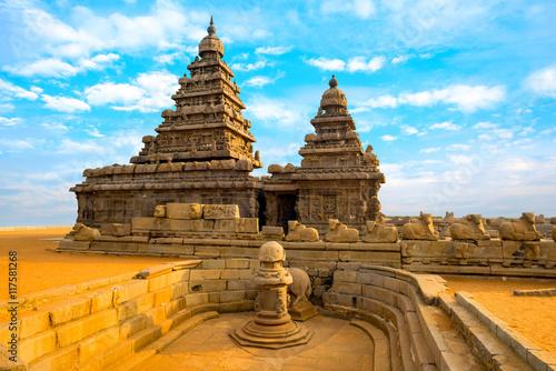 Fényképezés  monolithic famous Shore Temple near Mahabalipuram, world heritag