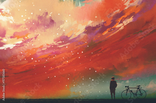 Foto op Aluminium Grandfailure man with bicycle standing against red clouds in the sky,illustration,digital painting