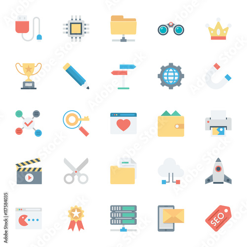 Fotografie, Obraz  SEO and Internet Marketing Colored Vector Icons 4