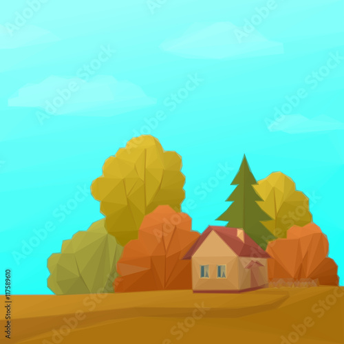 Spoed Foto op Canvas Turkoois Landscape, Country House in Autumn Forest with Coniferous and Deciduous Trees and Blue Sky with Clouds, Low Poly. Vector