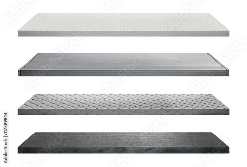 Fotografía  Metal shelves made of steel isolated on white background