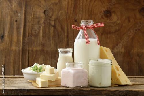 Staande foto Zuivelproducten organic dairy products - milk, sour cream, cottage cheese, yogurt