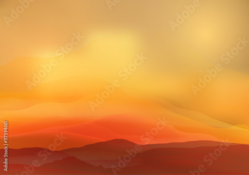 Canvas Prints Cuban Red Abstract Smooth Blurred Mountain Landscape - Vector Illustration