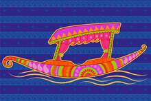 Shikara Boat In Indian Art Style